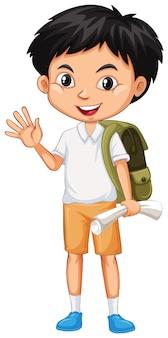 Een gelukkige jongen met groene rugzak