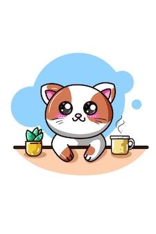 Een gelukkige kat met koffie en sierplant kawaii cartoon