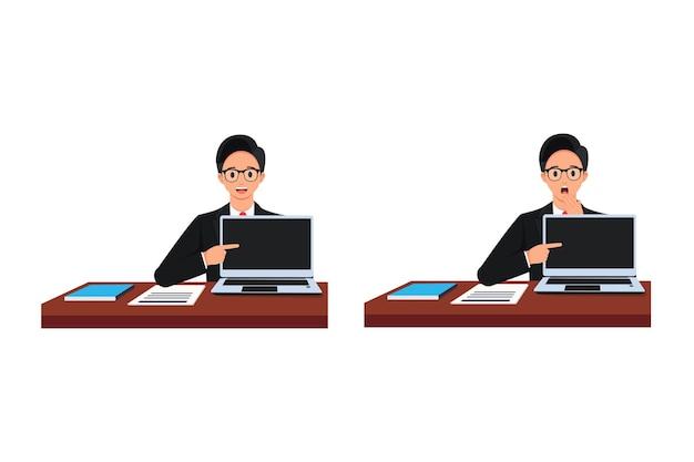 Een gelukkige man kijkt verrast vooruit met een hand die naar een laptopscherm wijst