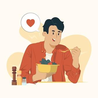 Een gelukkige mens die verse saladeillustratie eet