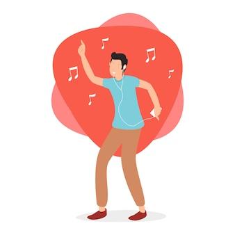 Een gelukkige tiener die naar jazzmuziek luistert, gebruikt oortelefoons in de avond