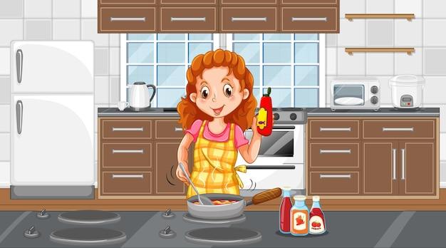 Een gelukkige vrouw die kookt in de keukenscène