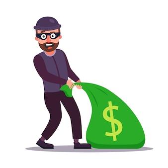 Een gemaskerde overvaller sleept een zak geld mee. bank overval. platte karakter illustratie.