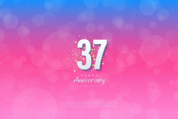Een gesorteerde achtergrond voor het vieren van zijn 37-jarig jubileum