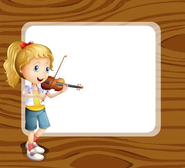 Een getalenteerd meisje met een lege sjabloon