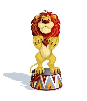 Een getrainde leeuw staat op een circusvoetstuk.
