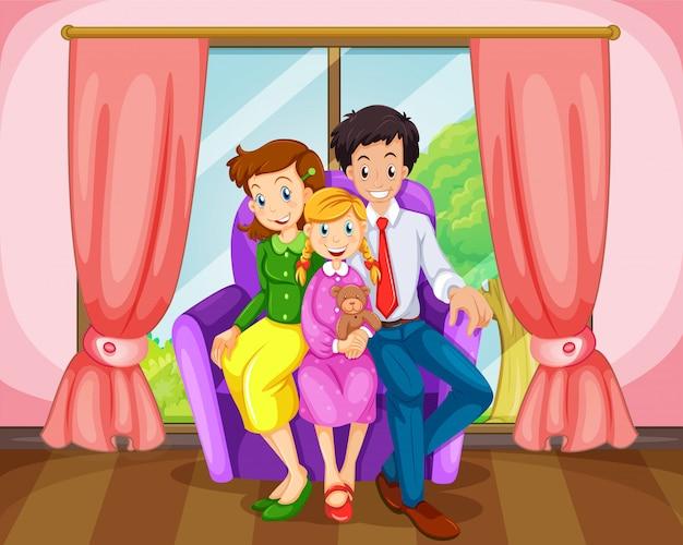 Een gezin in de woonkamer