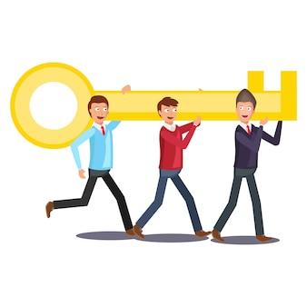 Een gigantische gouden sleutel opheffen