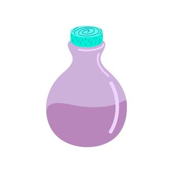 Een glazen fles met een toverdrank. een toverdrank. elixer. platte vectorillustratie. ontwerp voor halloween, uitnodigingskaarten, wenskaarten, afdrukken. schattige kleine fles heks drankje. vector