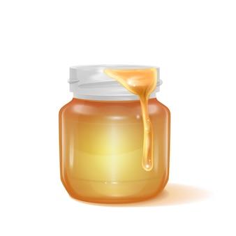 Een glazen pot vol met honing en honing drop illustratie