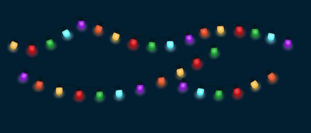 Een gloeiende veelkleurige kerstslinger op een donkere achtergrond. vector