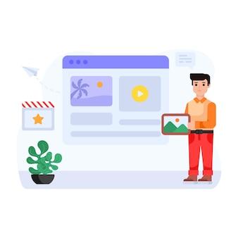 Een goed ontworpen platte illustratie van contentmarketing