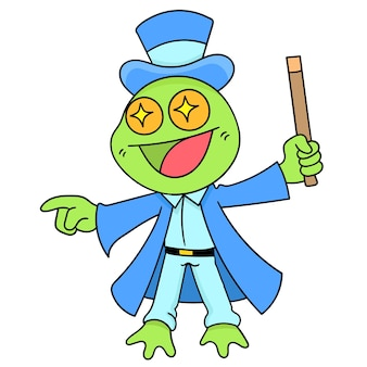 Een goochelaarkikker in actiemagie, karakter schattige doodle-trekking