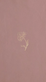 Een gouden bloem omtrek mobiel behang