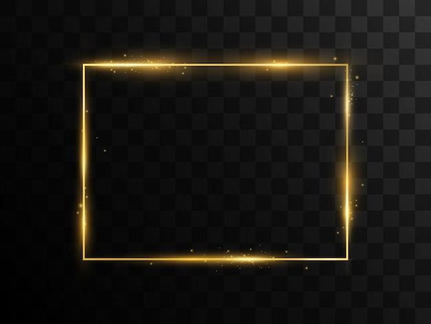 Een gouden frame op een transparante achtergrond.
