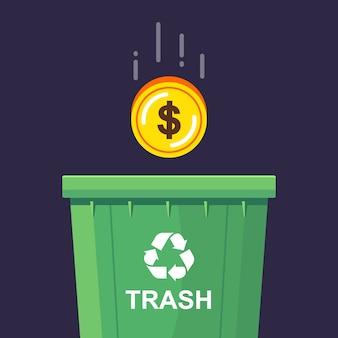 Een gouden munt wordt in de vuilnisbak gegooid. economische achteruitgang. vlakke afbeelding.