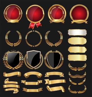 Een gouden verzameling van verschillende badges en labels