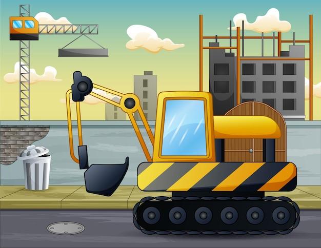 Een graafmachine voor de bouwplaatsillustratie