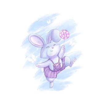 Een grappige konijntjesjongen in lila gestreepte broek springt met een lolly