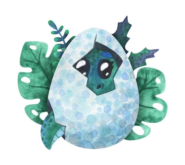 Een groene babydinosaurus die uit een ei is uitgekomen. cartoon print met een draak in een schelp.