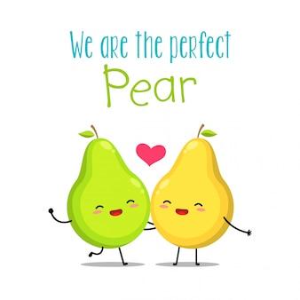 Een groene en gele peer. vector illustratie