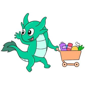 Een groene hagedis draagt een winkelwagentje gevuld met boodschappen, vectorillustratieart. doodle pictogram afbeelding kawaii.