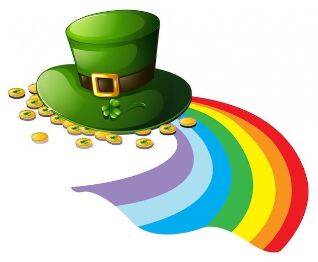 Een groene hoed met gouden lopers