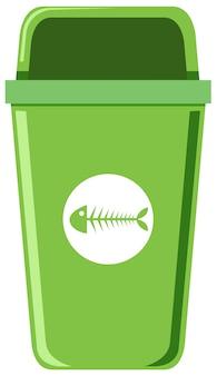Een groene vuilnisbak op witte achtergrond