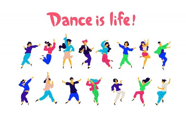 Een groep dansende mensen in verschillende poses en emoties.