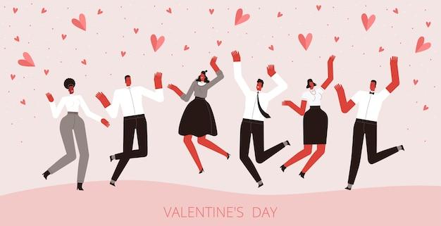 Een groep gelukkige verliefde mensen springen en genieten van de vakantie met hartjes eromheen.