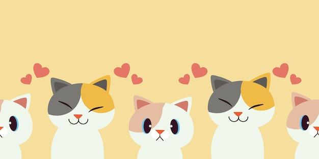 Een groep katten is naadloos patroon