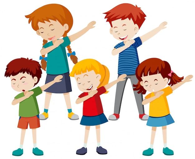 Een groep kinderen dep