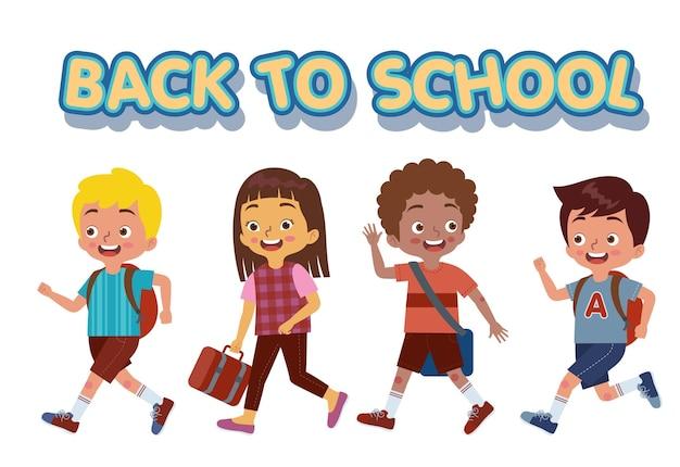 Een groep kinderen liep vrolijk naar school terwijl ze hun tassen droegen