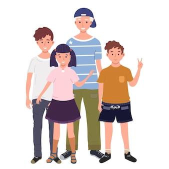 Een groep kinderen staat samen vectorillustratie