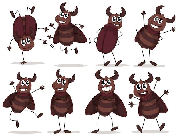 Een groep lachende insecten