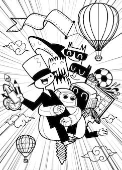 Een groep leuke stripfiguren vliegt terug naar school