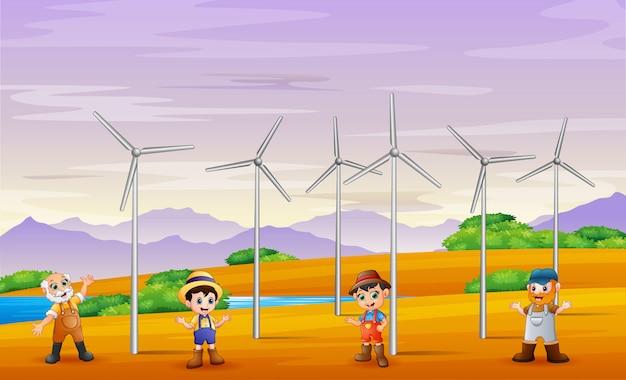 Een groep mannelijke landbouwers in het landschap van de windmolentoren