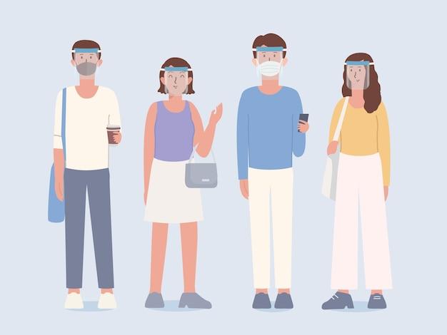 Een groep mensen die een doorzichtig plastic gelaatsscherm en een chirurgisch masker draagt, bedekt het gezicht met kleding in een levensstijl die een nieuw normaal is voor mensen van nu. illustratie over de nieuwe cultuur van de mens.