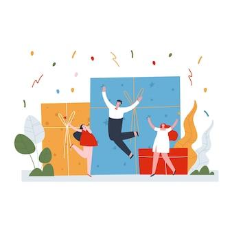 Een groep mensen heeft plezier met springen en dansen van vreugde grote dozen en confetti vuurwerk