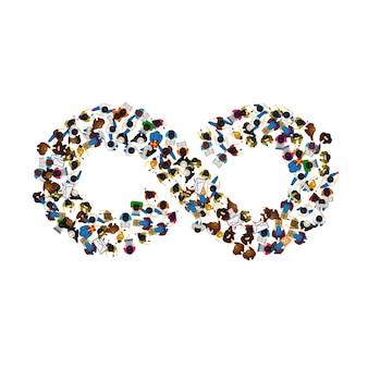 Een groep mensen in een vorm van oneindigheidssymbool op witte achtergrond. vector illustratie