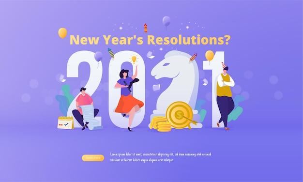 Een groep mensen karakter met 2021 voor het resolutieconcept van het nieuwe jaar