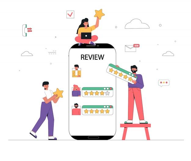 Een groep mensen, mannen en vrouwen evalueert en plaatst positieve en negatieve recensies in de buurt van een gigantische smartphone.