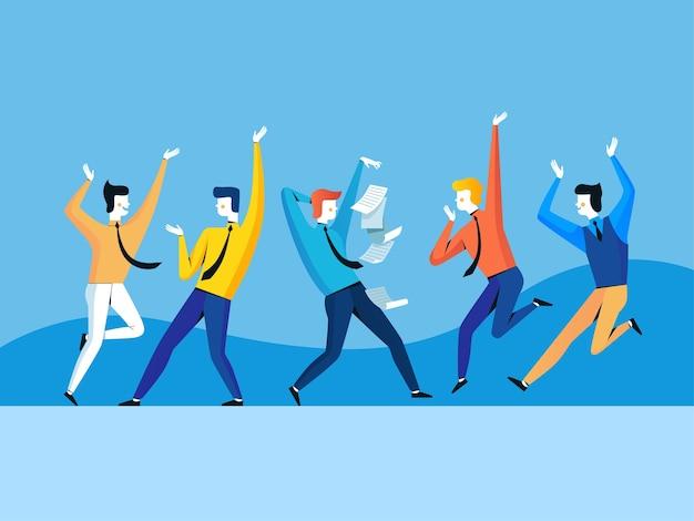 Een groep mensen verheugt zich en springt. zakelijk succes.