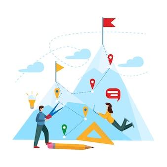 Een groep mensen werkt aan de uitvoering van het plan. teamwork concept, plan, problemen op te lossen bedrijf. vectorillustratie bedrijfsconcept. plat minimaal ontwerp.