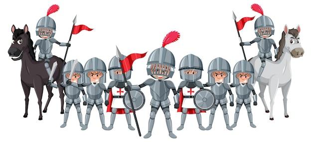 Een groep middeleeuwse ridders op witte achtergrond
