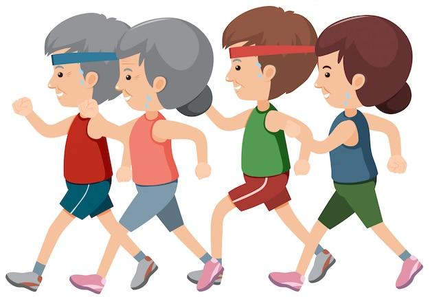 Een groep ouderen joggen