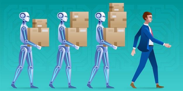 Een groep robots helpt zakenmensen