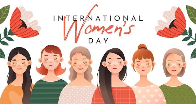 Een groep schattige meisjes. wenskaart voor internationale vrouwendag (8 maart).