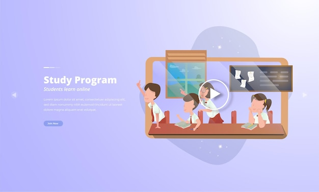 Een groep studenten studeert voor online video-leerconcepten