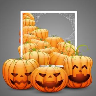Een groep vrolijke halloween-pompoenen met een wit frame. op een grijze achtergrond